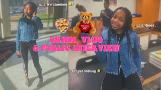 GRWM: VALENTINES DAY SCHOOL VLOG & PUBLIC INTERVIEW 🍫❤️ | alex teni