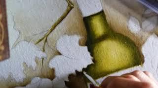 Transparência Garrafa de vinho (verde) – Pintura em tecido Ana Ferrante