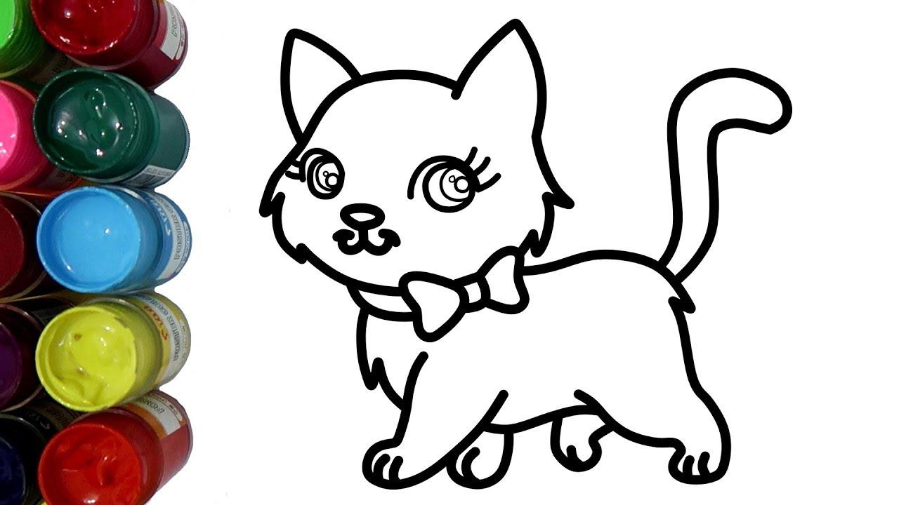 Belajar Mewarnai Kucing Dengan Cat Air Untuk Anak Coloring Pages