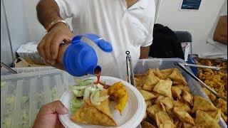 Punjabi Samosas & Pakoras with Mint Sauce, Tamarind Sauce and Salad: Indian Street Food in London.
