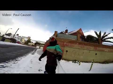 Snowboarding the streets of Felixstowe