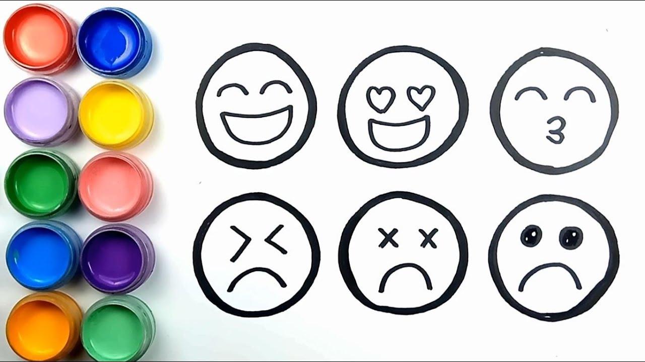 Cara Menggambar Dan Mewarnai Berbagai Ekspresi Emoji Warna Warni Youtube