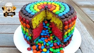 M&M RAINBOW PIÑATA CAKE - HOMEMADE EASY RECIPE