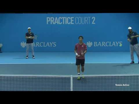 Kei Nishikori Practicing Against Andy Murray 2016 ATP World
