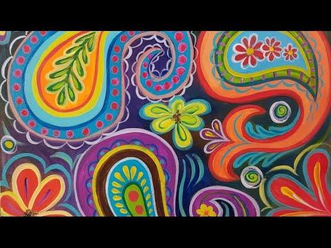 Bohemian Paisley Acrylic Painting Tutorial LIVE Step by Step Whimisical BOHO Art