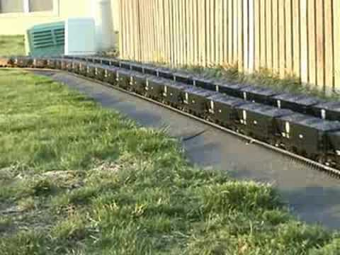 Garden Railroad – 100ft coal trains x 2 – Video 1