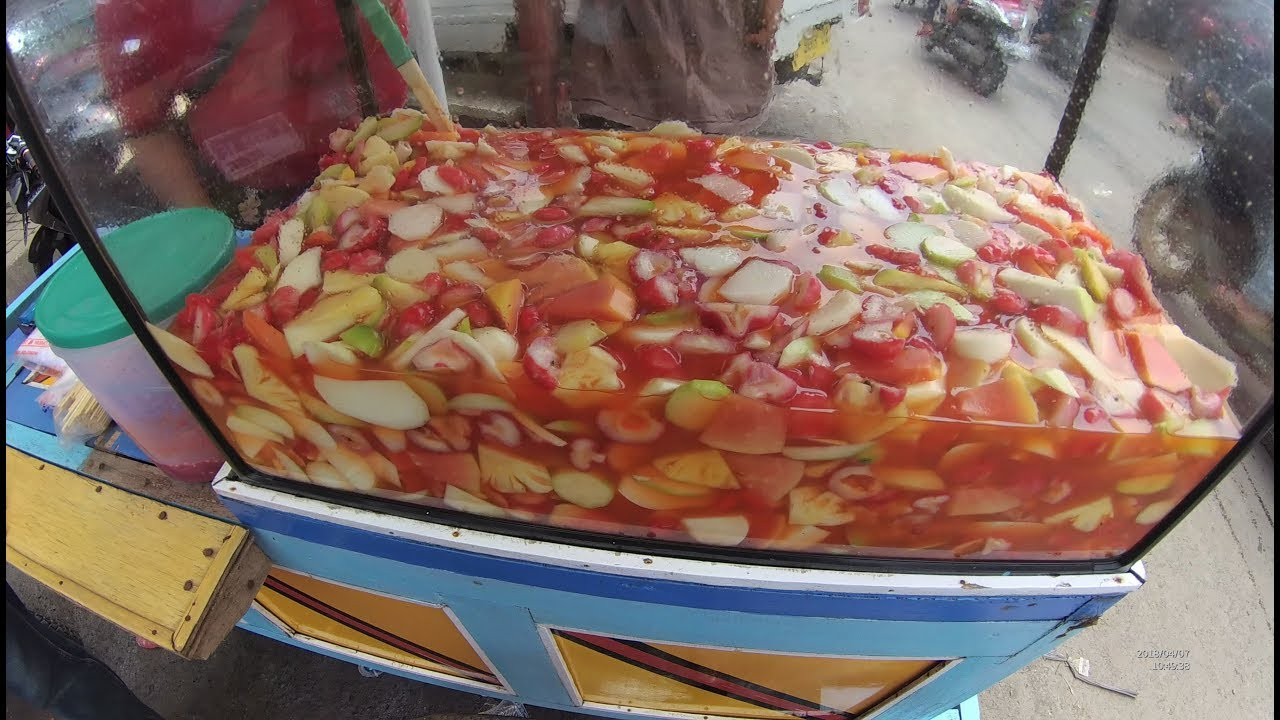 Indonesia Rangkasbitung Street Food 2514 Part 1 Aquarium Salad Fruit