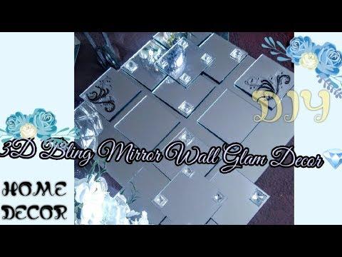 How To| DIY Elegant 3D Mirror Elegant Wall Art💖| DIY Glam Decor| DIY Bling Decor