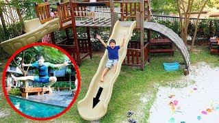 สกายเลอร์ | วันแสนสนุกของสกายเลอร์ เล่นบ่อทราย สไลเดอร์ ว่ายน้ำหนีปลาฉลาม | Fun Outdoor Playground