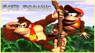 Speed Drawing: Donkey Kong and Diddy Kong