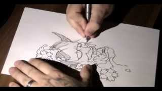 Drawing a tattoo - Oni mask