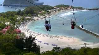 World Longest Zip Line over water in Haiti Dragon