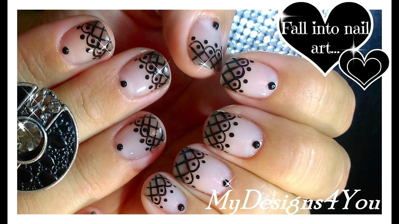 Lace Nail Art With Sheer Polish Black Lace Short Nails