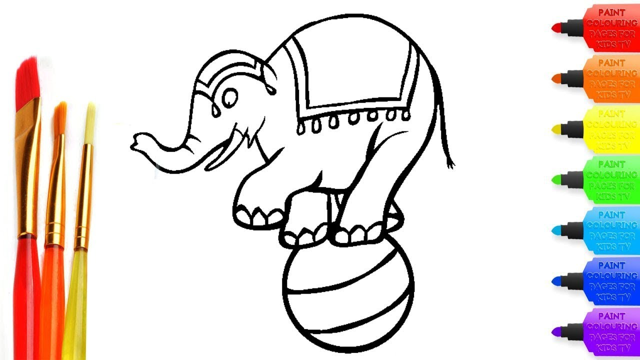 How to draw Circus Elephant coloring page for kids I learn coloring book  with Circus Elephant