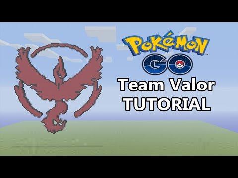 Minecraft | Pokemon GO Team Valor Logo Pixel Art Tutorial