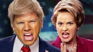 Donald Trump vs Hillary Clinton.  Epic Rap Battles of History.(Download this song itunes: ▻http://bit.ly/TrumpHillaryiTunes◅ Download this song on Amazon - https://amzn.com/B01M7V97M2 Buy NEW Trump vs Clinton ..., 2016-10-27T03:11:42.000Z)