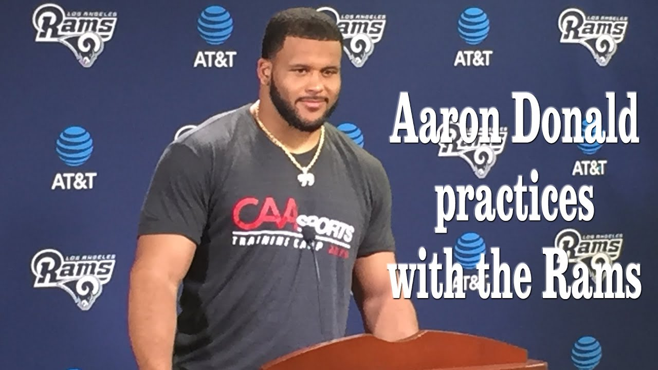 Aaron Donald Practices with the Rams