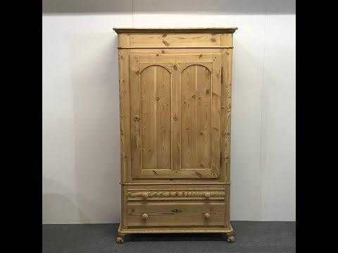 tall-attractive-danish-antique-pine-armoire-for-sale---pinefinders-old-pine-furniture-warehouse