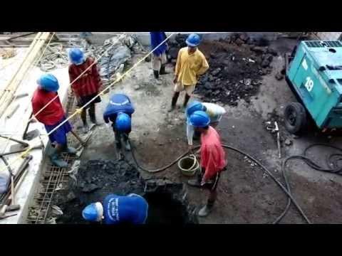 Jackhammer in front of Polda Metro Jaya after gas fire in Jalan Jendral Sudirman Jakarta