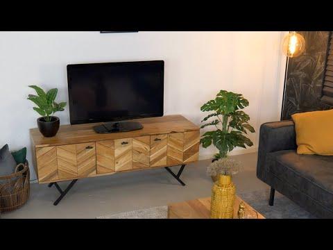 TV-Lowboard Hunter Akazie Fischgrät-Design 130 cm