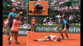 Ouch! Damir Dzhumur collides with ball-boy at French Open