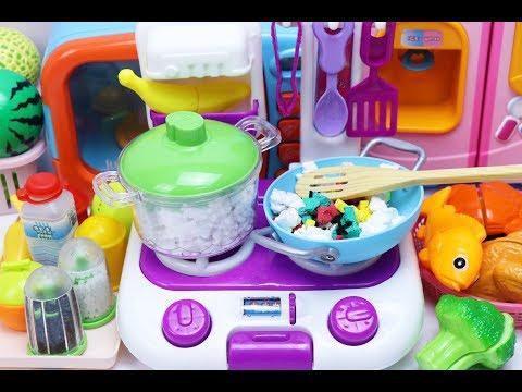 ของเล่นทำอาหาร ของเล่นเครื่องครัว คุณแม่ทำกับข้าว ของเล่นผักผลไม้หั่นได้ สไลม์ แป้งโดว์