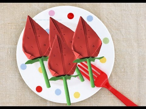 [Paper Strawberry Origami] how to make folding origami easy small paper Strawberry DIY for kids