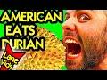 AMERICAN TRIES DURIAN   DURIAN TASTE TEST   Durian Challenge   LaneVids
