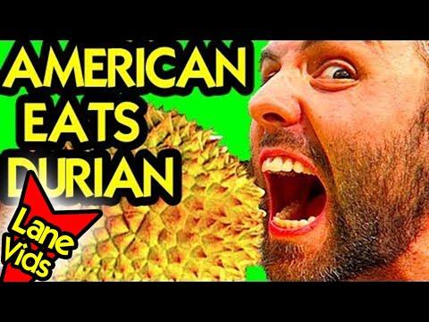 AMERICAN TRIES DURIAN | DURIAN TASTE TEST | Durian Challenge | LaneVids