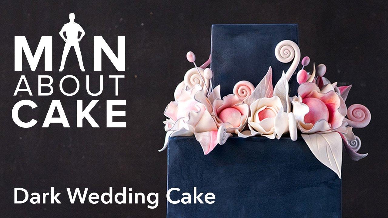 Man About Dark Wedding Cake With Sugar Flowers
