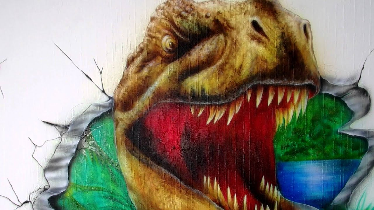 T Rex Dinosaur Wall Airbrush With Fluorescent Colors