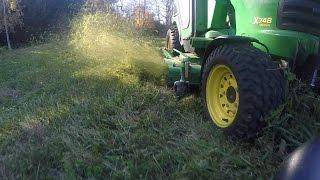 John Deere X748 & 7 Iron - Mowing the Side Field - 20151023