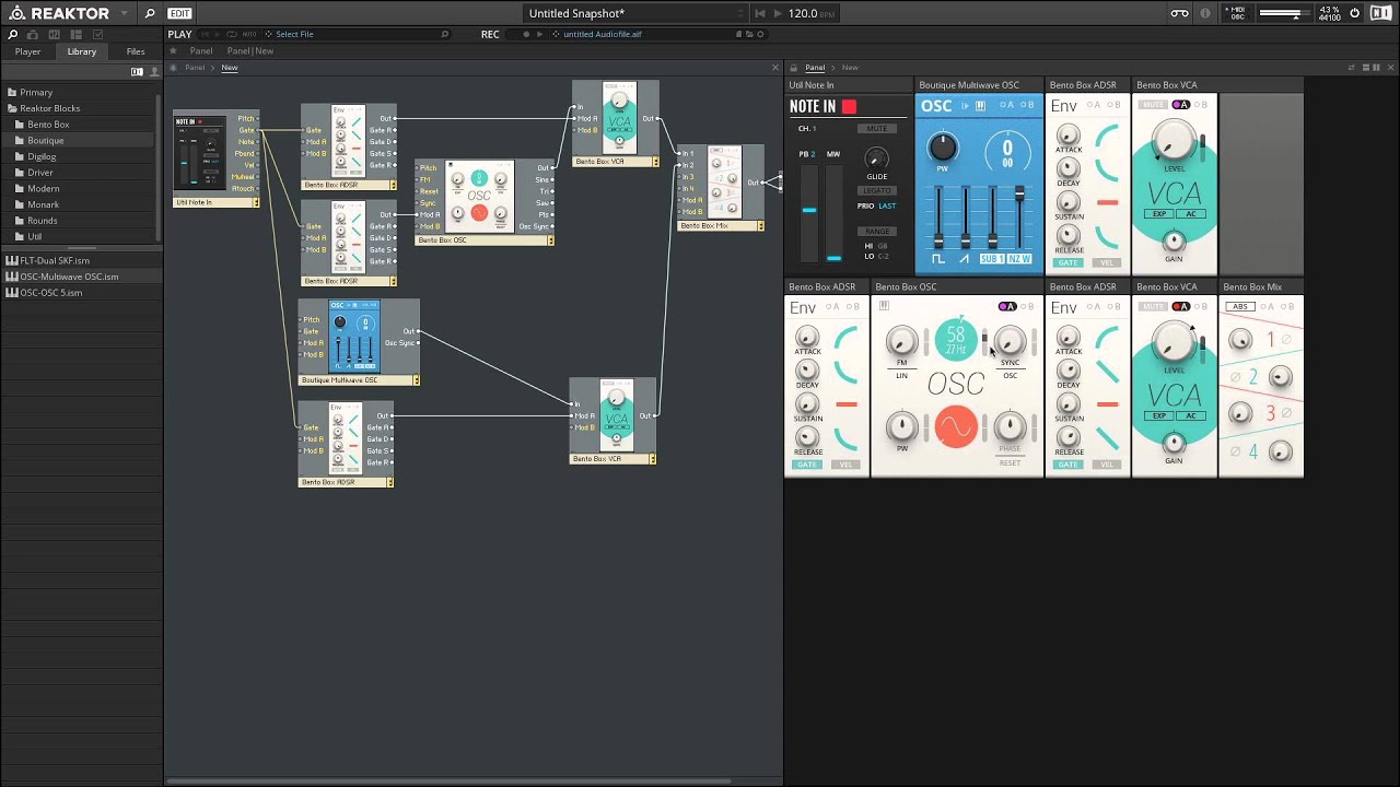 "Reaktor 6 Blocks Tutorial #4 ""Making a Kick Drum"" and Ableton Live Integration"