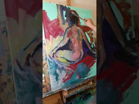 Large Figurative Oil Painting - Painting The Female Figure - Jose TRUJILLO
