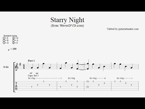 Relaxing Acoustic Guitar TAB  Starry Night  acoustic fingerpicking guitar tab  PDF  Guitar Pro