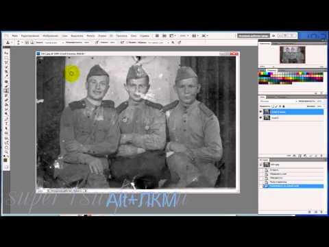Реставрация фото (+придание цвета) Юрий Гагарин. Photoshop