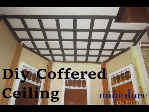 DIY Coffered Ceiling Miniature. Box ceiling 1 inch scale.