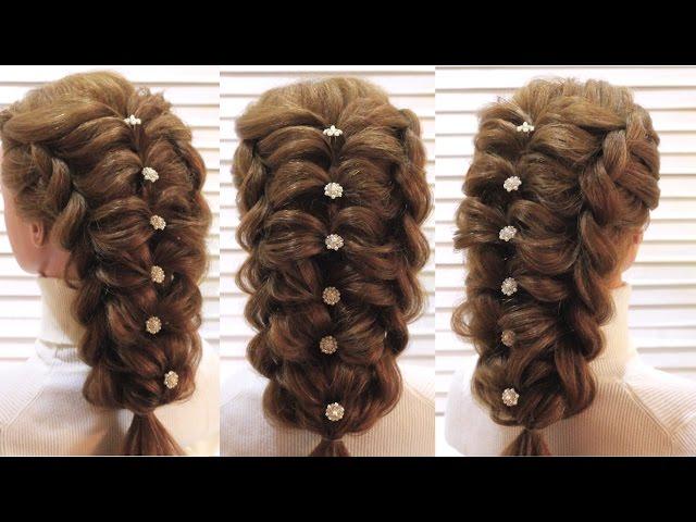 Прическа на выпускной. Воздушное плетение. Prom hairstyle