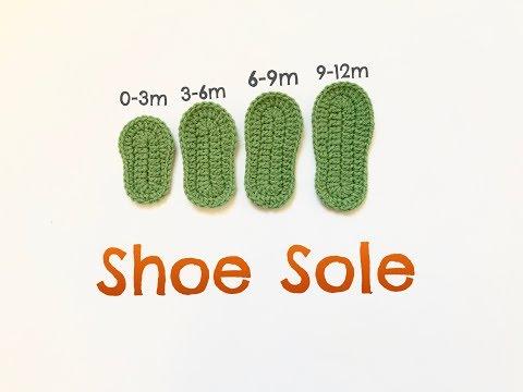 Guide to Crochet Shoe Sole / Crochet baby shoe sole