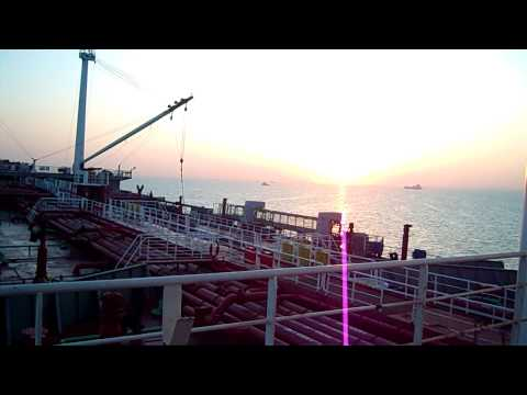 Sunrise view from an oil Tanker Ship at Suez Canal