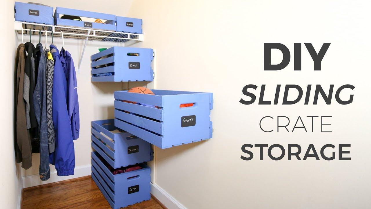 Diy Sliding Wood Crate Storage Small Closet Upgrade