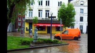 Les inondations à DISON sur la Place du Sablon . du 6 Juin 2016