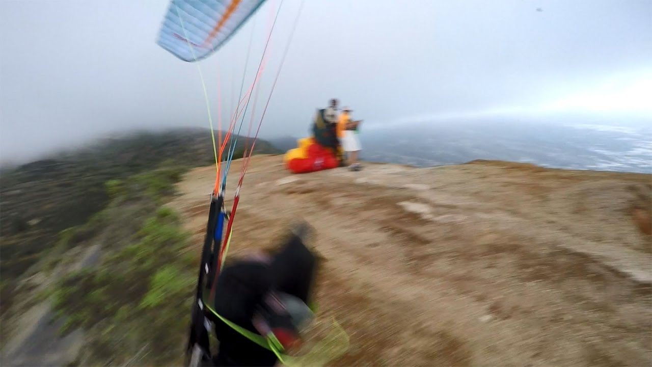 Paragliding crash on launch in Tenerife