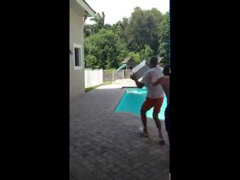 Angry Dad Throws Computer in Pool