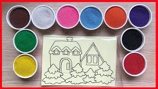 Đồ chơi trẻ em tô tranh cát ngôi nhà sinh đôi dễ thương - Colored Sand Painting (Chim Xinh)