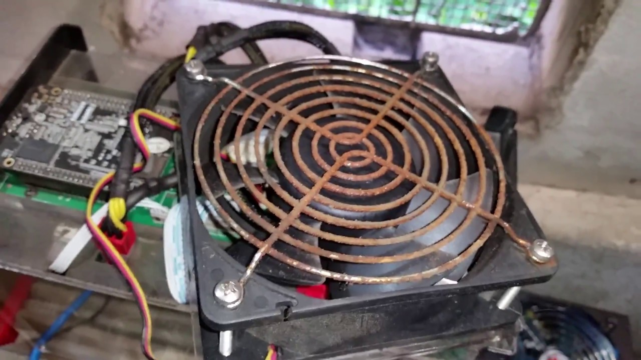 Seized Cooling Fan - Antminer S5 Bitcoin Miner - Rusted Metal Grate - Humid  Garage