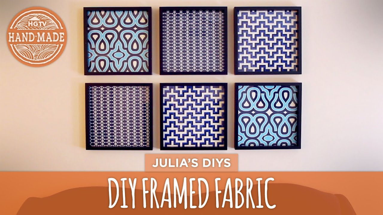 Diy framed fabric gallery wall hgtv handmade youtube for Fabric wall art