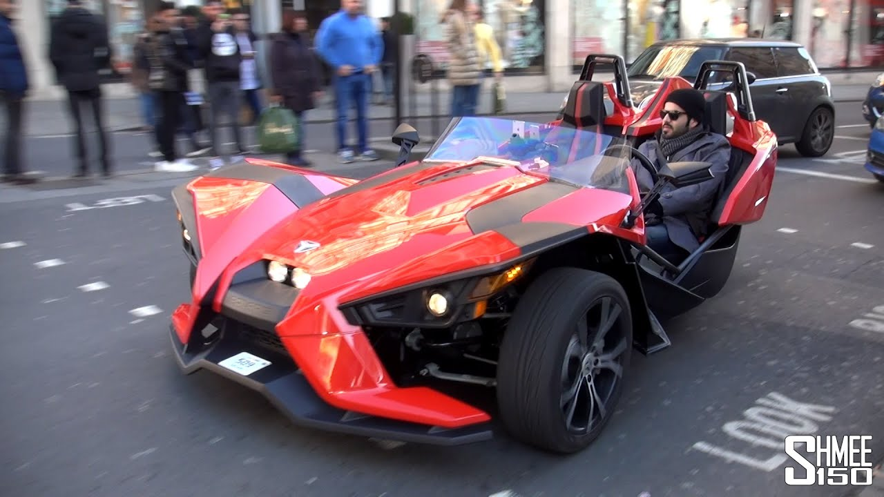 Harley 3 Wheeler >> Polaris Slingshot SL from Qatar - Unusual Car Spot in London - YouTube