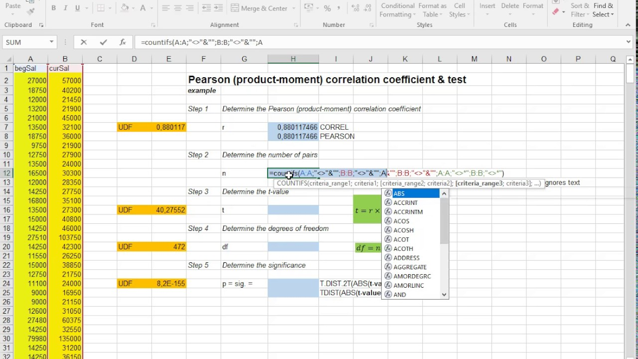 Excel - Pearson correlation coefficient (incl significance ...