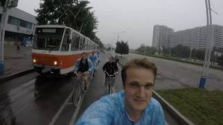 Picking up our bicycles from a North Korean supermarket in Pyongyang